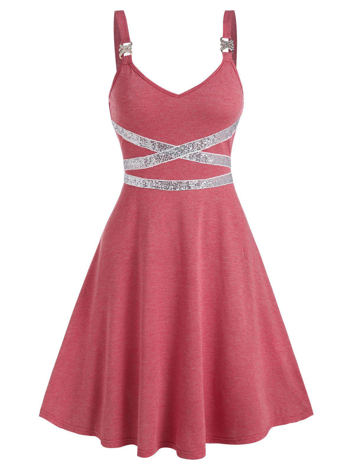Sleeveless Sequin Panel Flare Dress - VALENTINE RED L