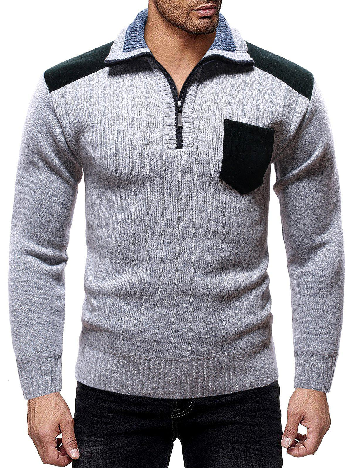 Color Spliced Pocket Casual Sweater - LIGHT GRAY L