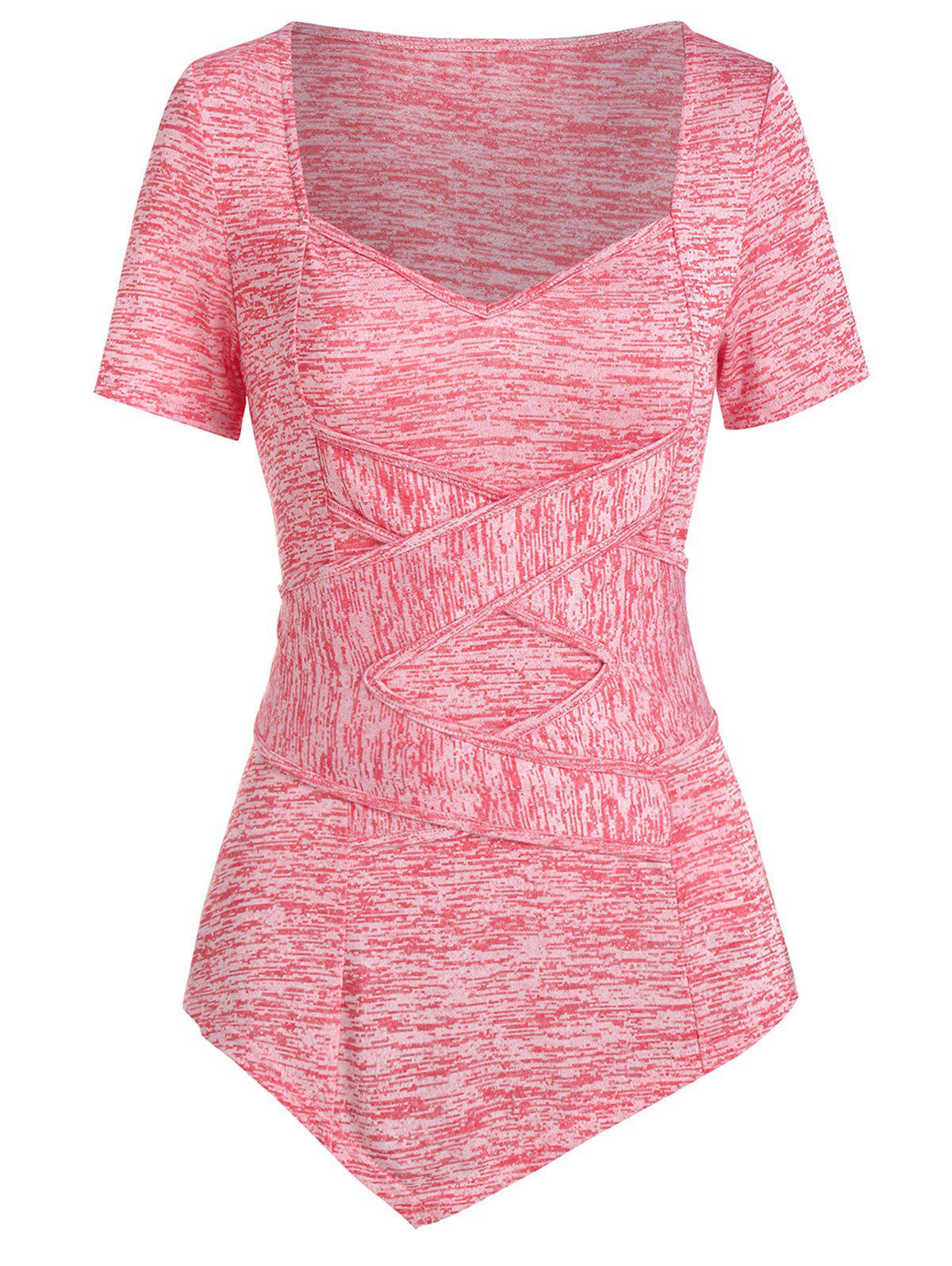Crossover Space Dye Asymmetric T Shirt - VALENTINE RED M