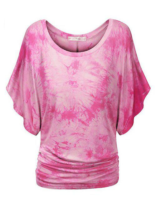 Tie Dye Ruched Batwing Sleeve Plus Size Top - NEON PINK 2X