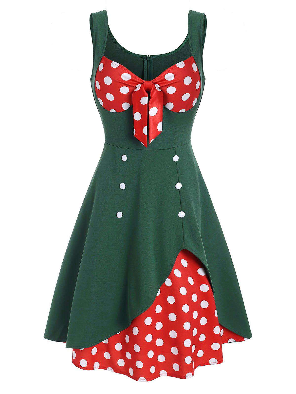 Polka Dot Bowknot Sweetheart Button Embellished Dress - MEDIUM FOREST GREEN M