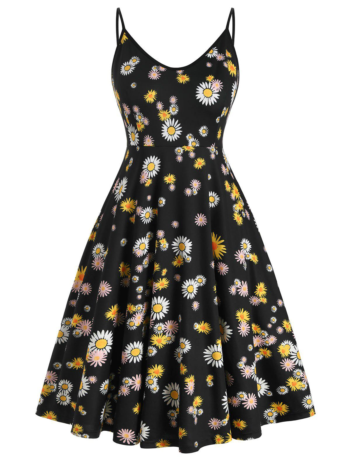 Plus Size Daisy Print Sleeveless Midi Dress - BLACK L