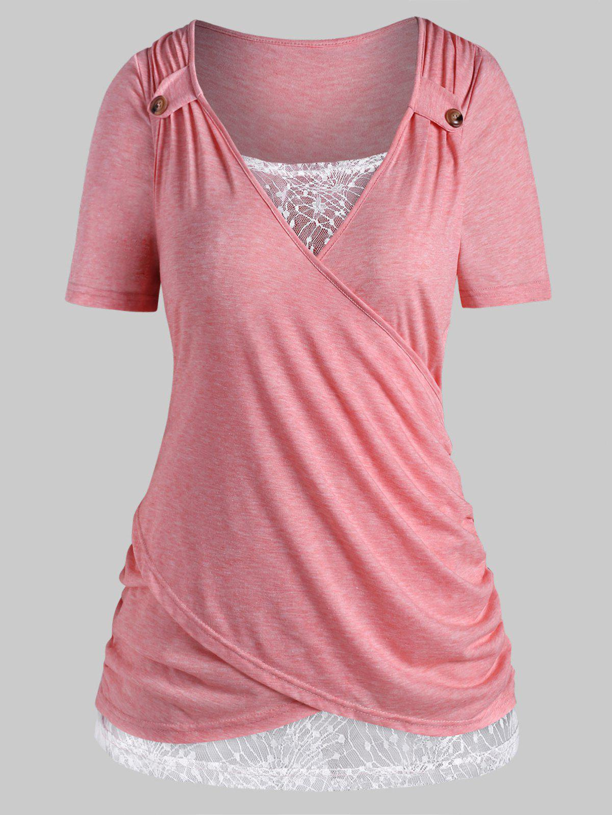 Plus Size Crossover Lace Insert T Shirt - LIGHT PINK 5X