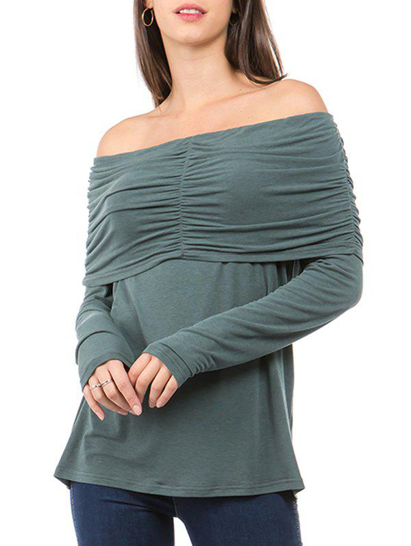 Off The Shoulder Fold Over Ruched T-shirt - GRAYISH TURQUOISE 2XL