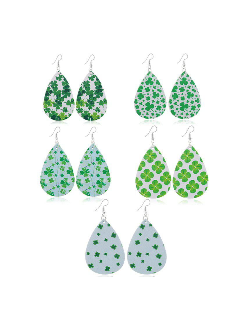 5Pairs Clover Print Teardrop Earrings Set - multicolor