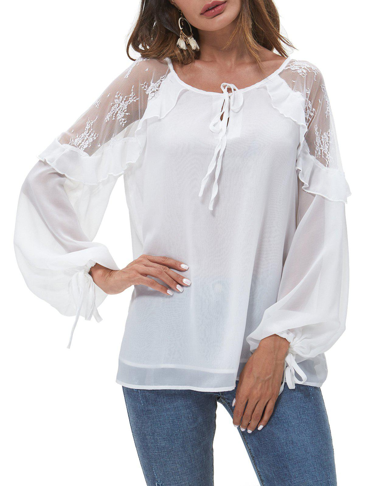 Lace Panel Knotted Layered Blouse - WHITE XL