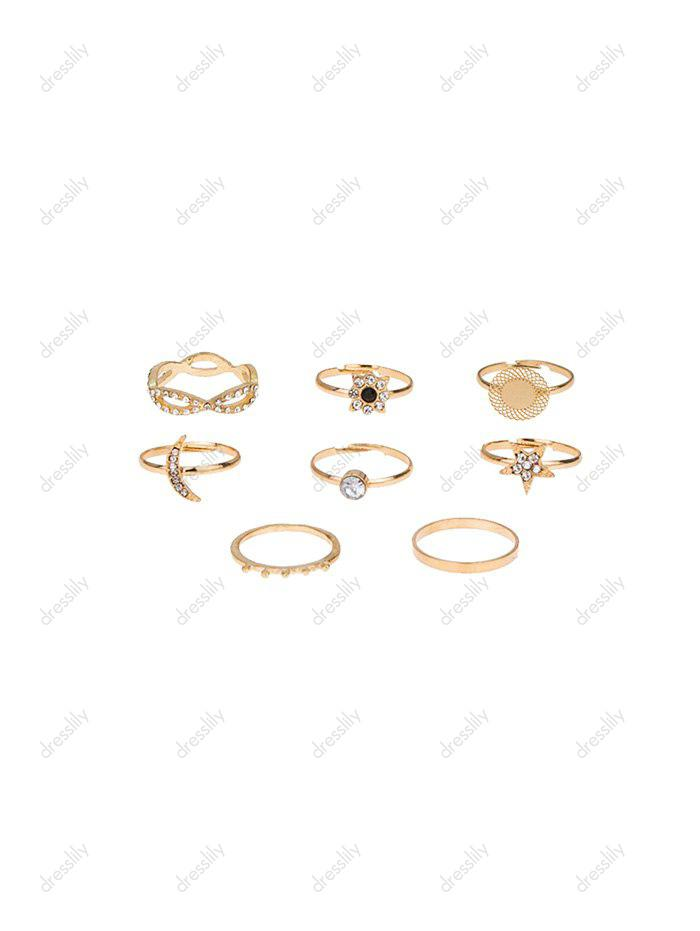 8 Piece Rhinestone Star Moon Floral Finger Rings Set - GOLD