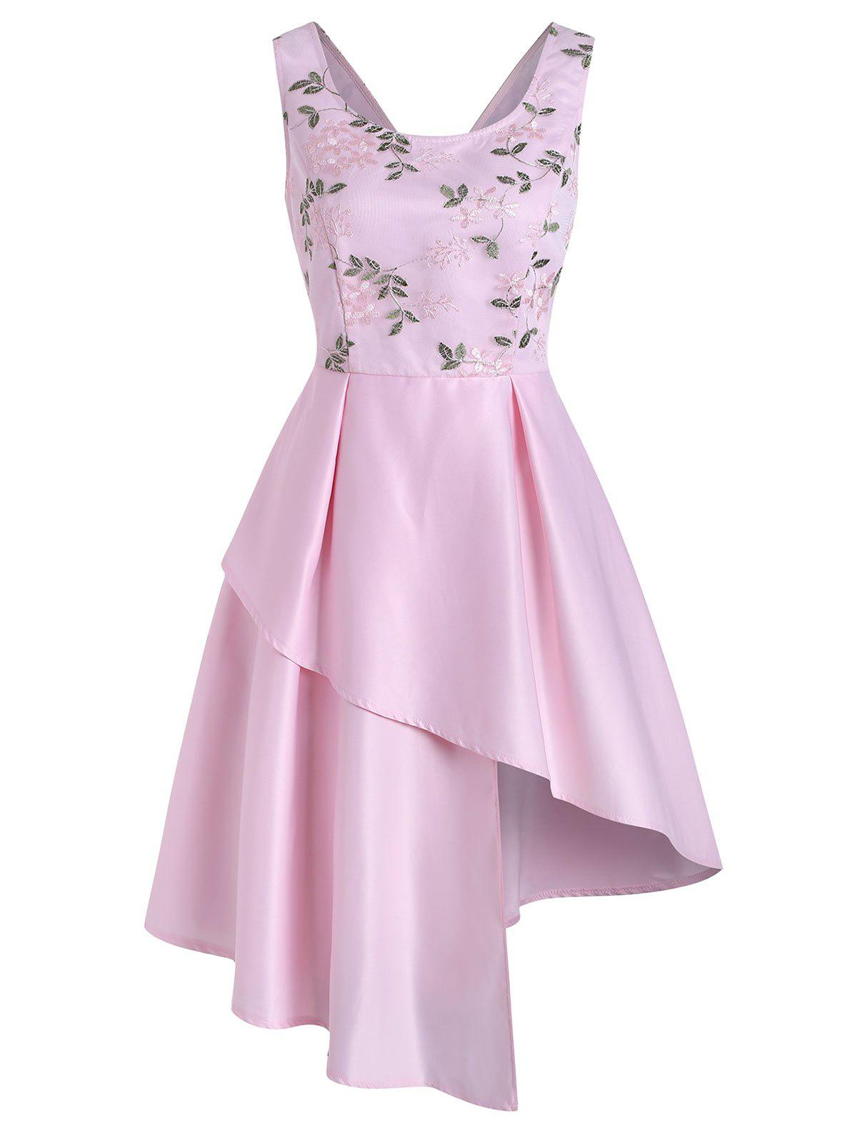 Lace Flower Embroidered V Back Asymmetrical Dress - PINK 2XL