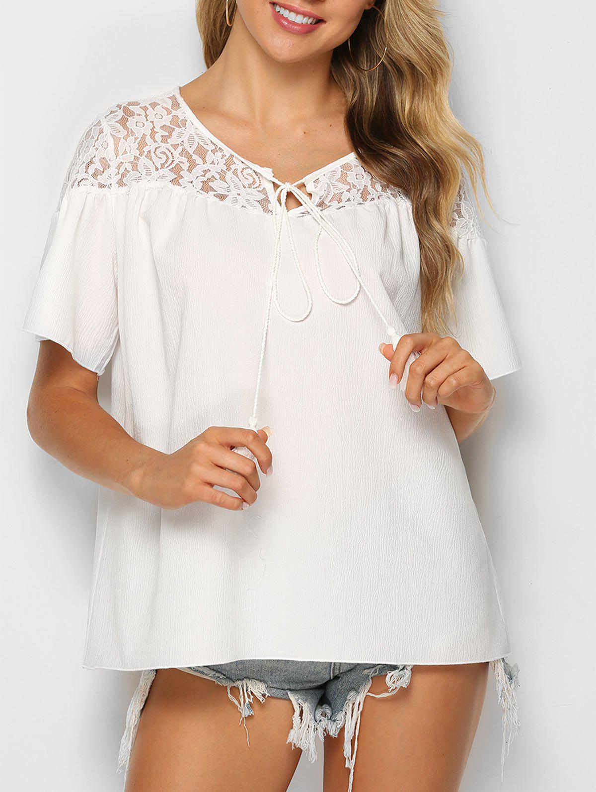 Flower Lace Insert Tasseled Knotted Blouse - WHITE L
