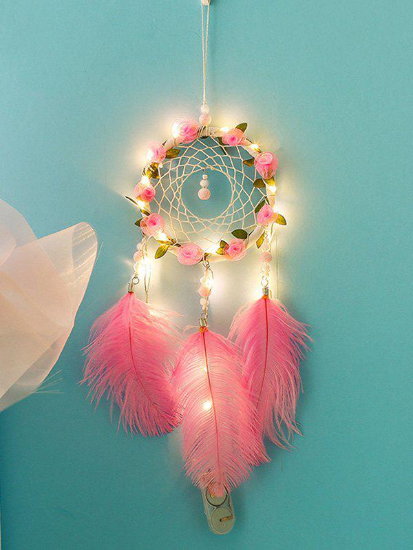 Flower Dream Catcher Feather Hanging Decoration - HOT PINK WITH LIGHTS