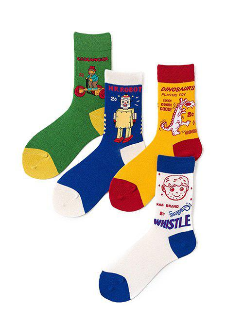 4Pairs Cartoon Cotton Sports Quarter Socks Set - multicolor A