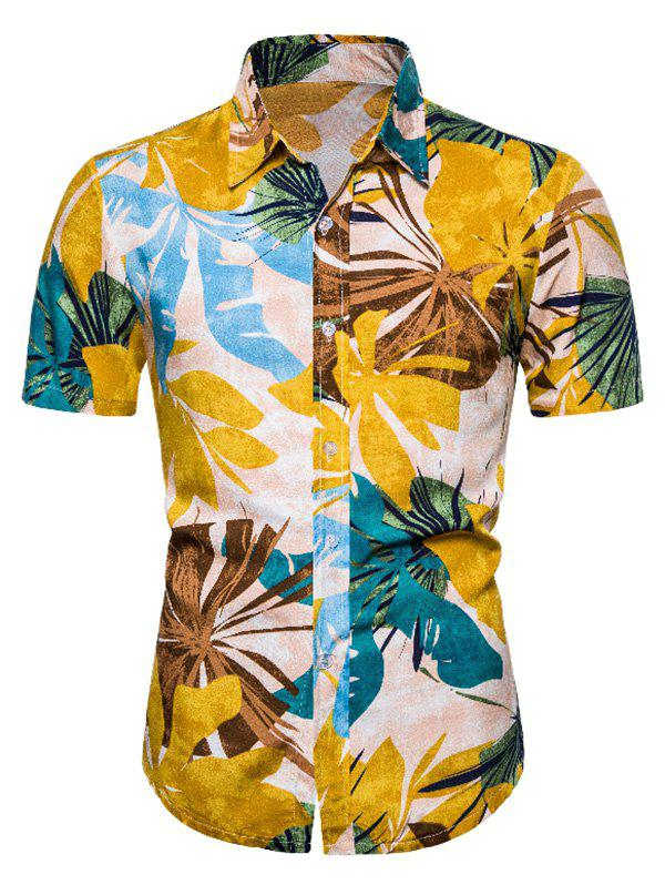 Leaf Print Short Sleeve Casual Hawaii Shirt - multicolor L