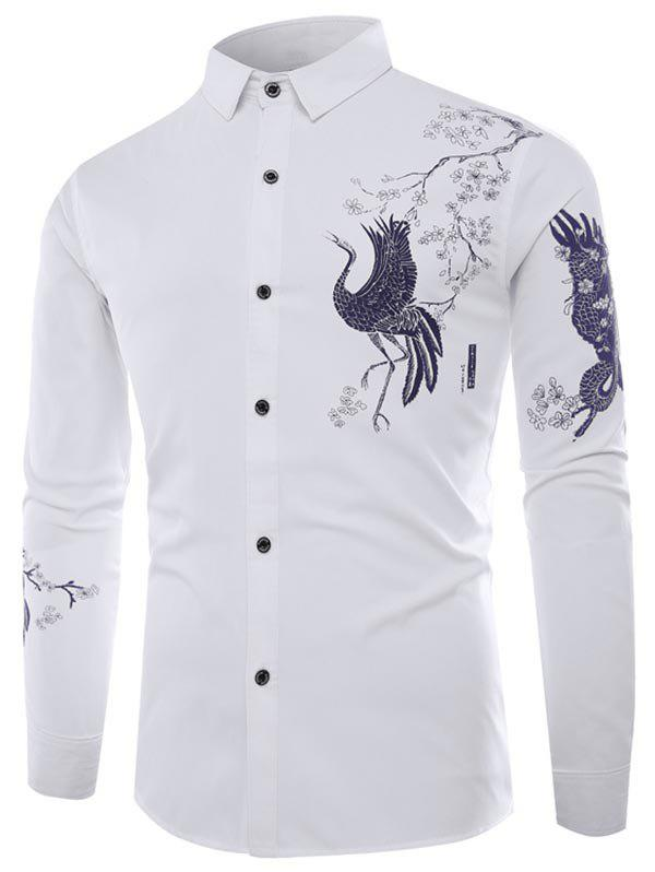 Chinese Animal Graphic Button Up Long Sleeve Shirt - WHITE XS