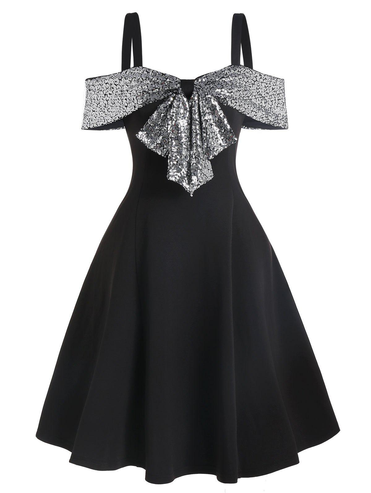 Sequin Panel Open Shoulder Skater Dress - BLACK M