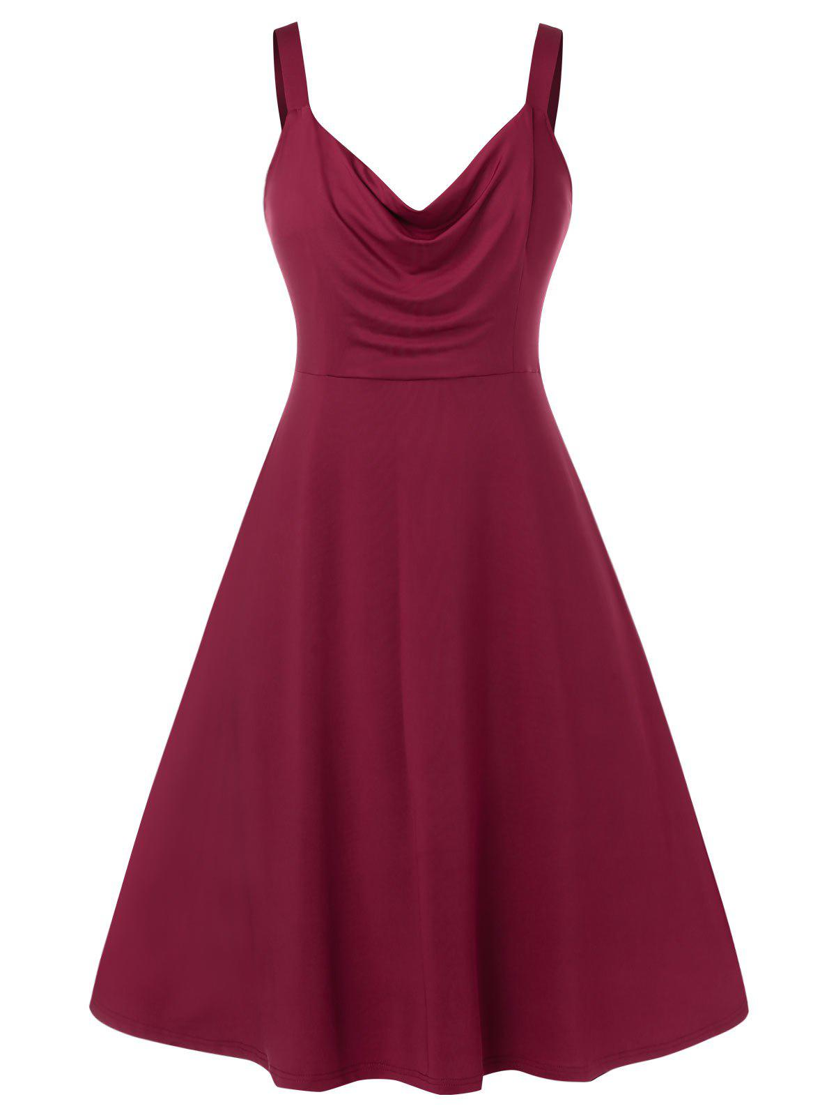 Plus Size Solid Color Ruched Sleeveless Dress - RED WINE L