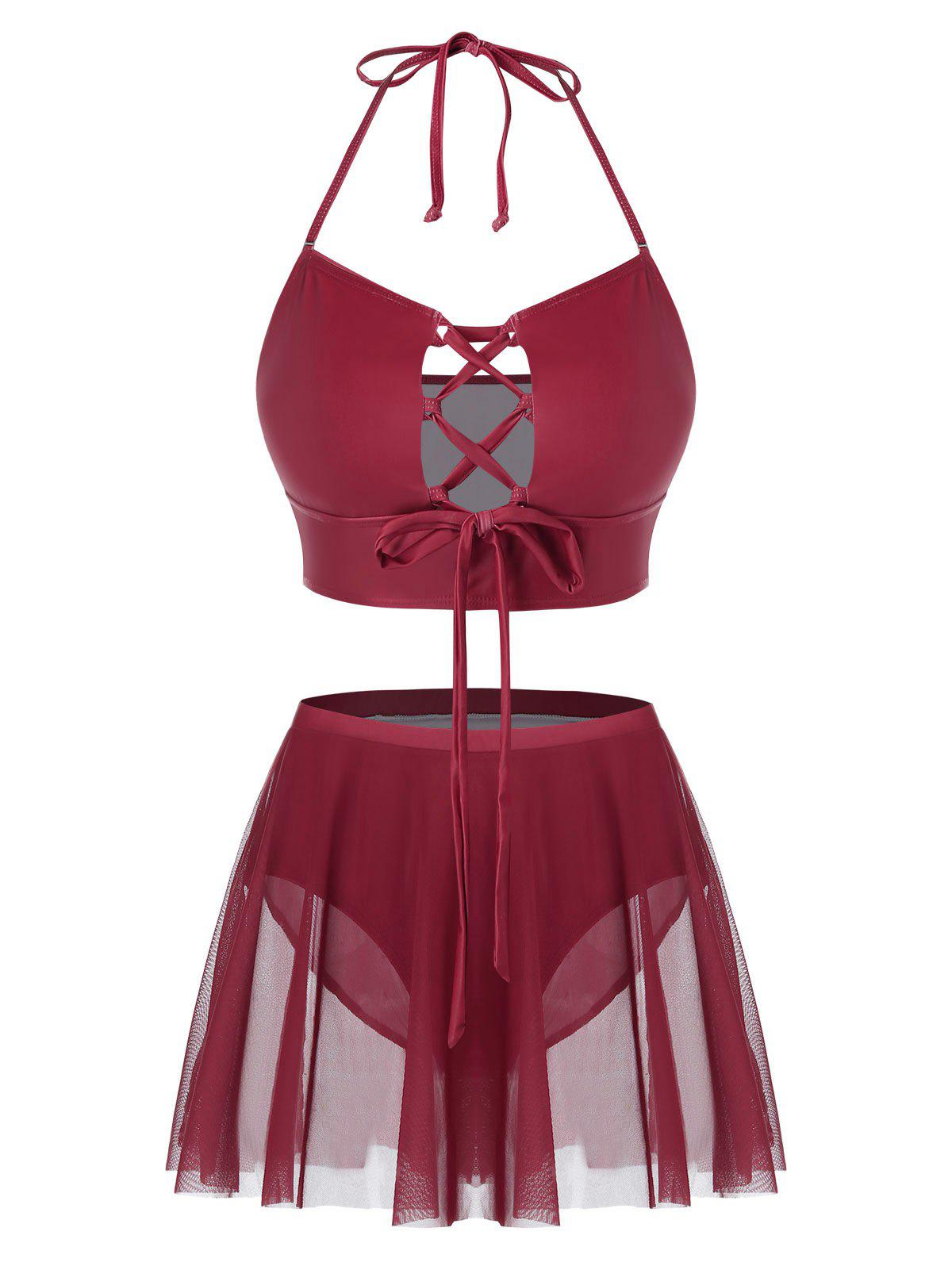 Plus Size Halter Lace Up Skirted Tankini Swimsuit - RED WINE 5X