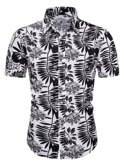 Two Tone Leaf Print Hawaii Short Sleeve Shirt - multicolor 3XL