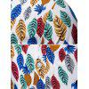 Colorful Leaf Print Button Up Hawaii Shirt - multicolor 3XL