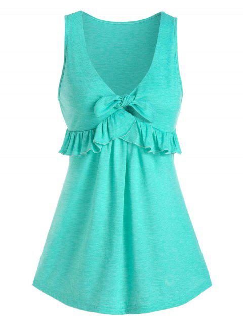 Front Knot Ruffled Plunge Tank Top