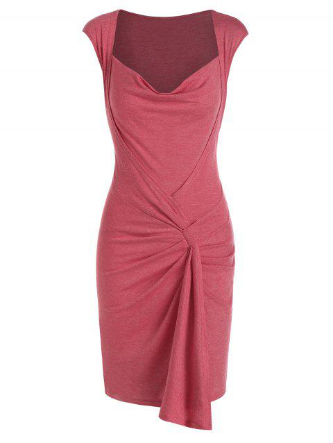Ruffled Cowl Neck Sheath Dress