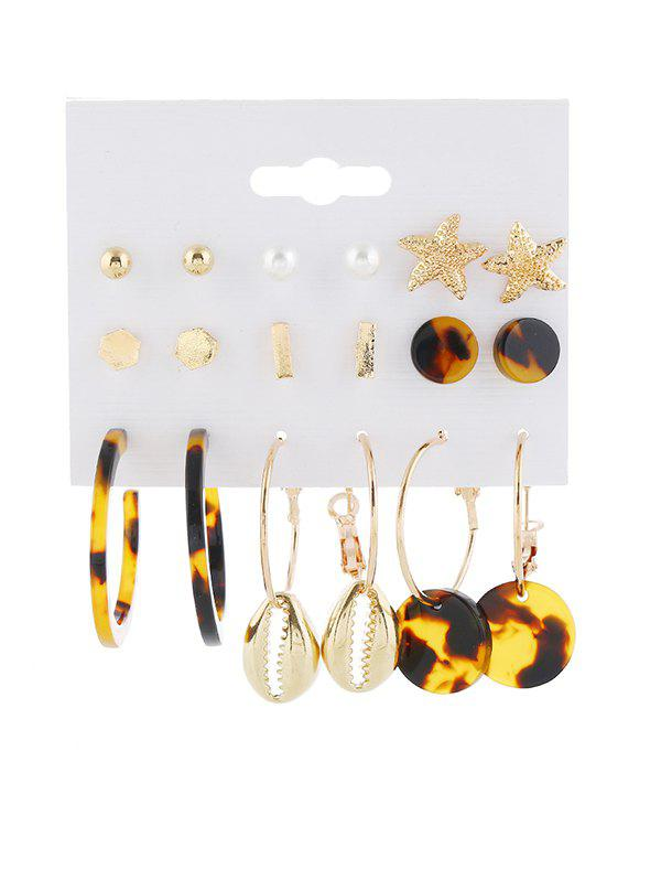 9 Piece Tortoise Star Shell Stud Drop Earrings Set - GOLD