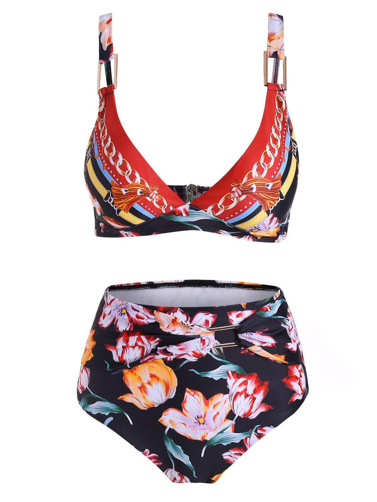 Metal Ring Floral High Waisted Bikini Swimsuit - multicolor XL