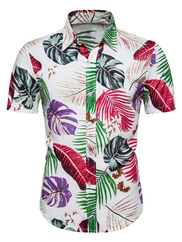 Hawaii Tropical Leaf Print Button Up Shirt - multicolor 3XL