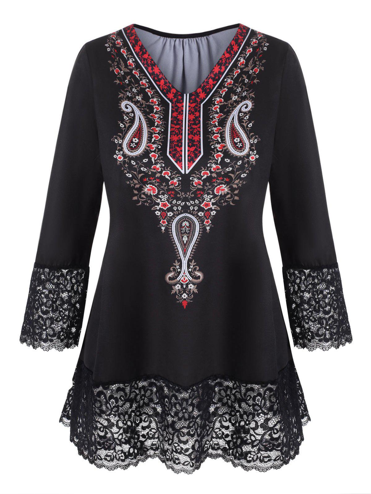 Plus Size Floral Paisley Print Lace Trim T Shirt - BLACK 1X