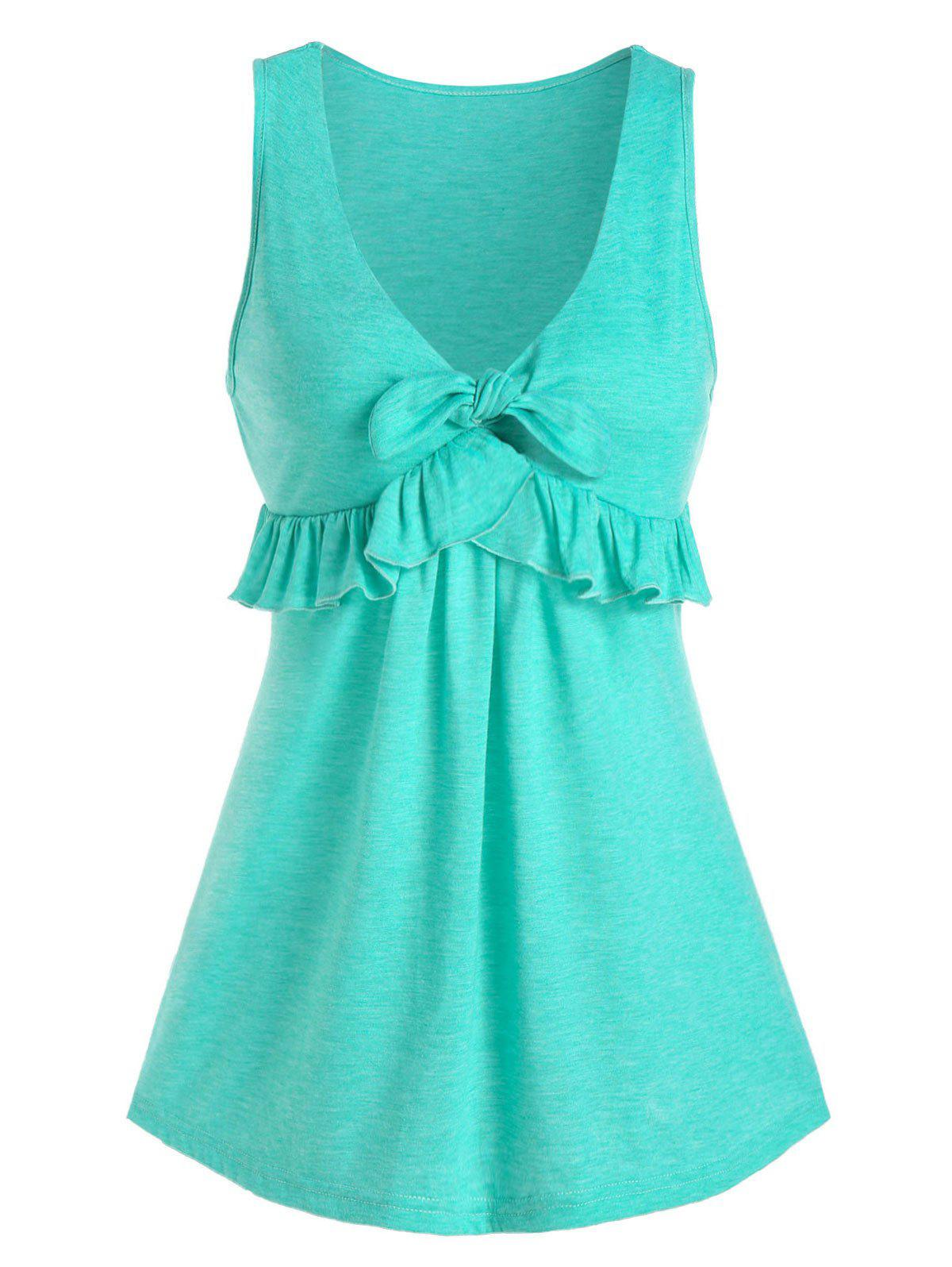 Front Knot Ruffled Plunge Tank Top - CELESTE L