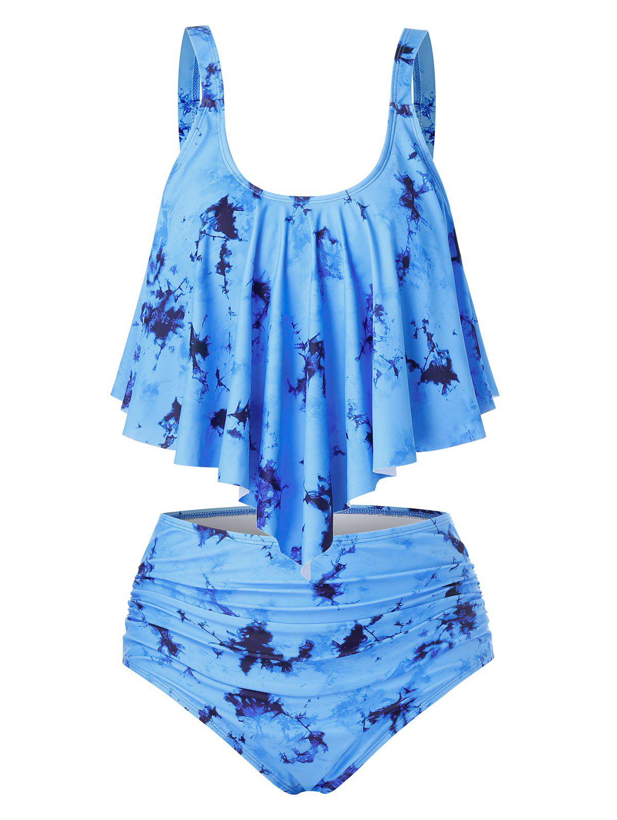 Plus Size Ruched Tie Dye Overlay Tankini Swimwear - DODGER BLUE 3X