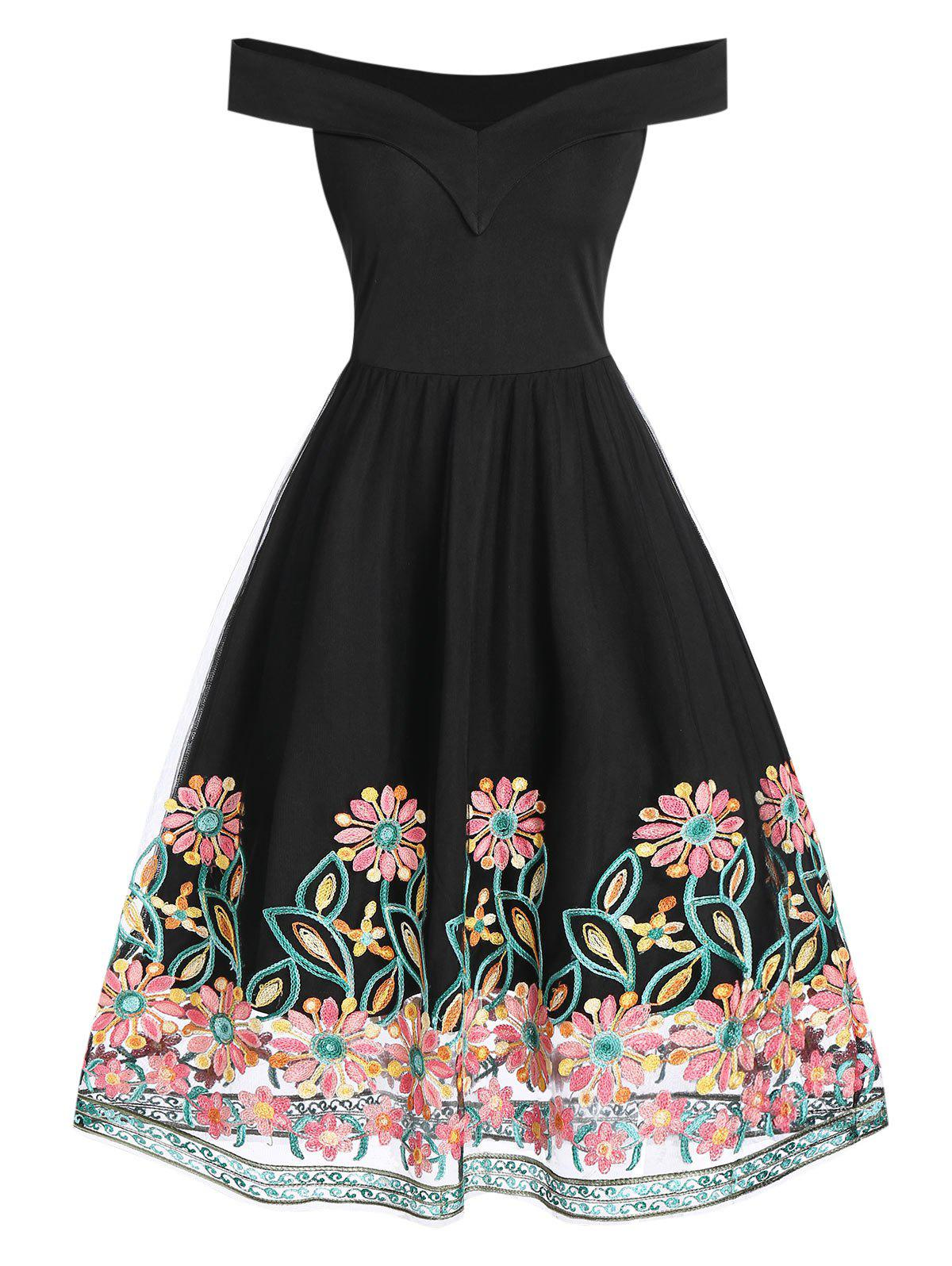 Flower Embroidered Off Shoulder Dress - BLACK M