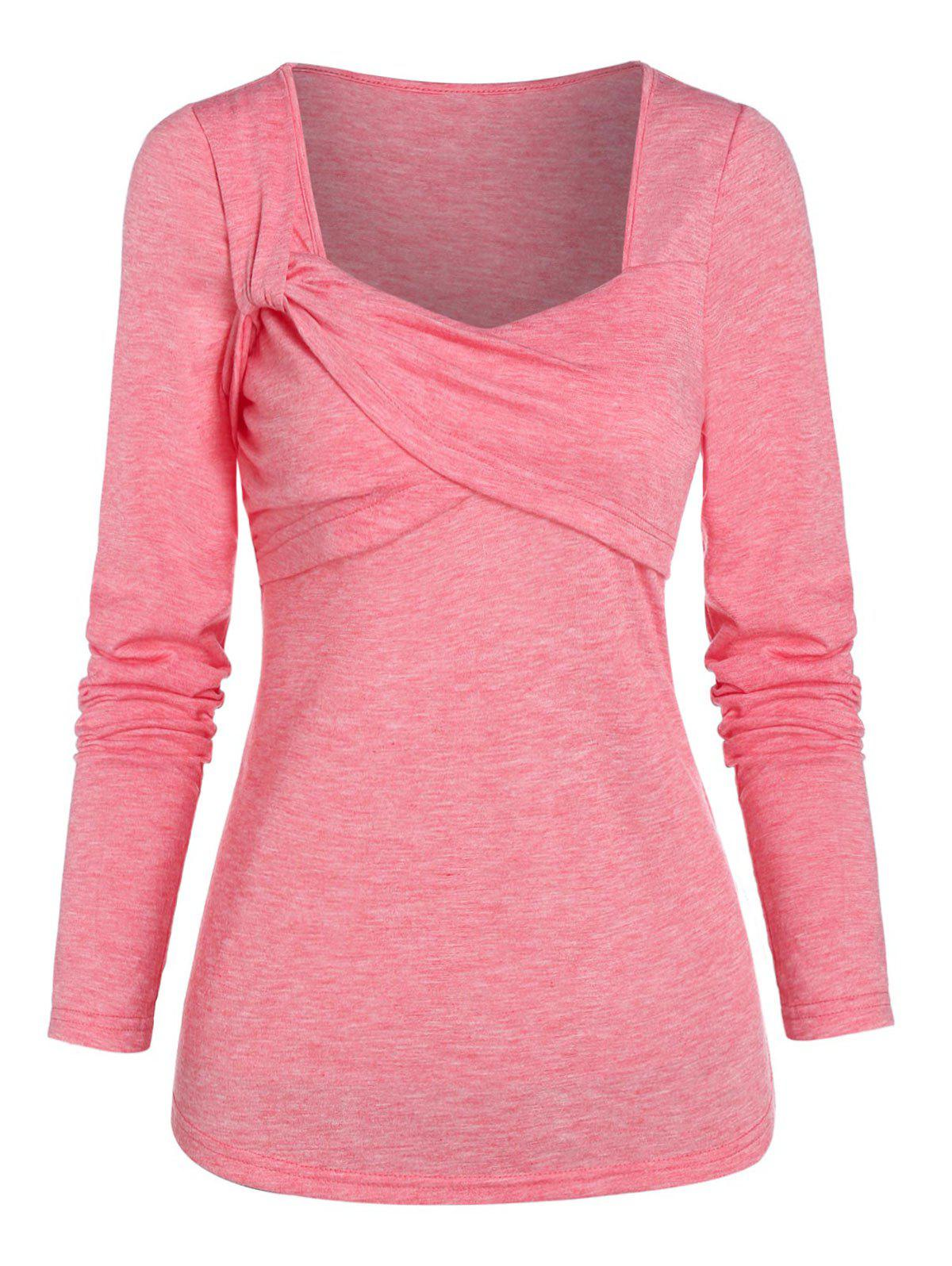 Heathered Twist Crossover T-shirt - PINK XL