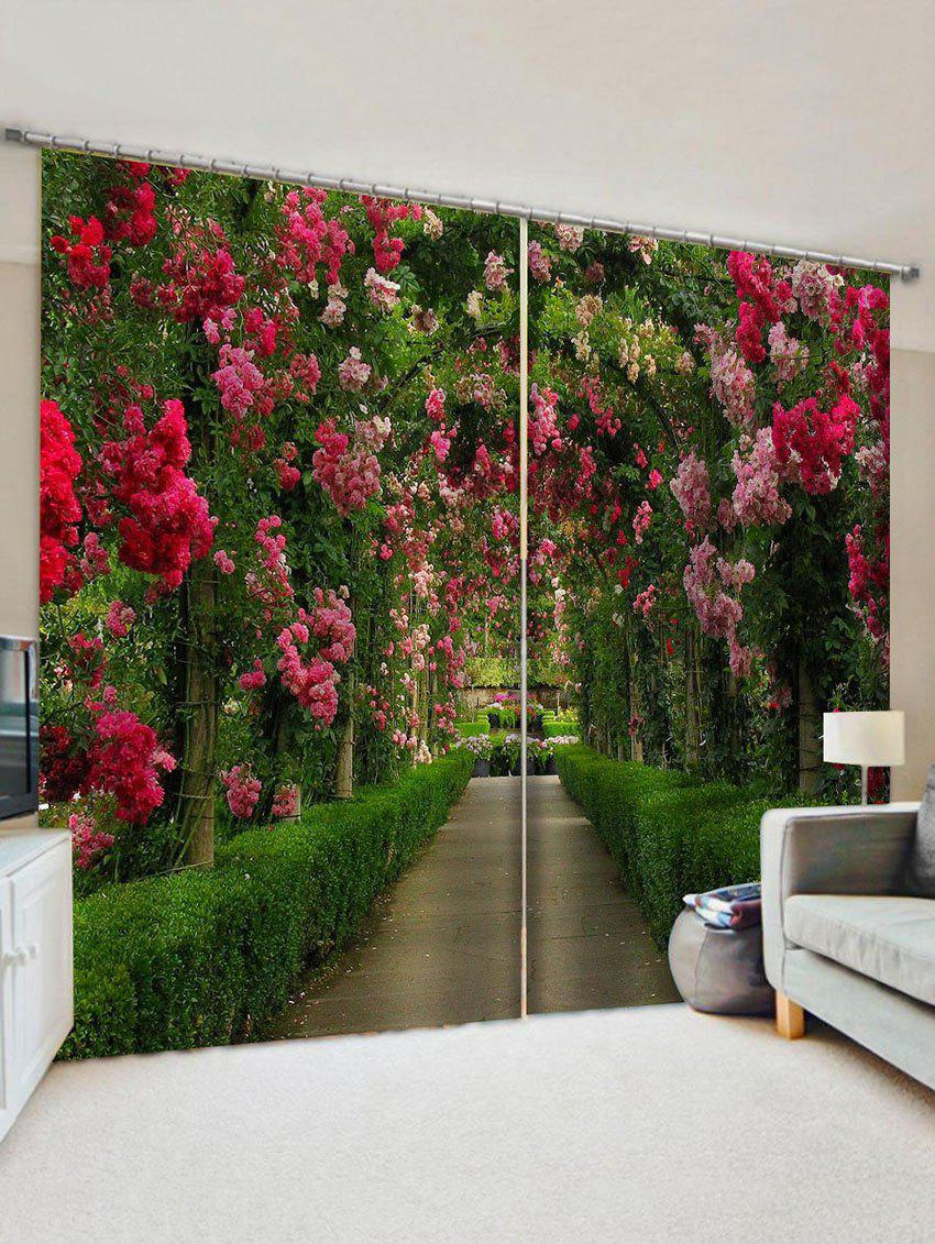 Flower Garden 3D Print Decorative Window Curtains - multicolor W28 X L39 INCH X 2PCS