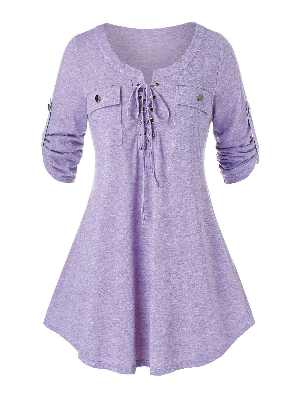 Plus Size Lace Up Heather Roll Tab Sleeve T-shirt - PURPLE MIMOSA 4X