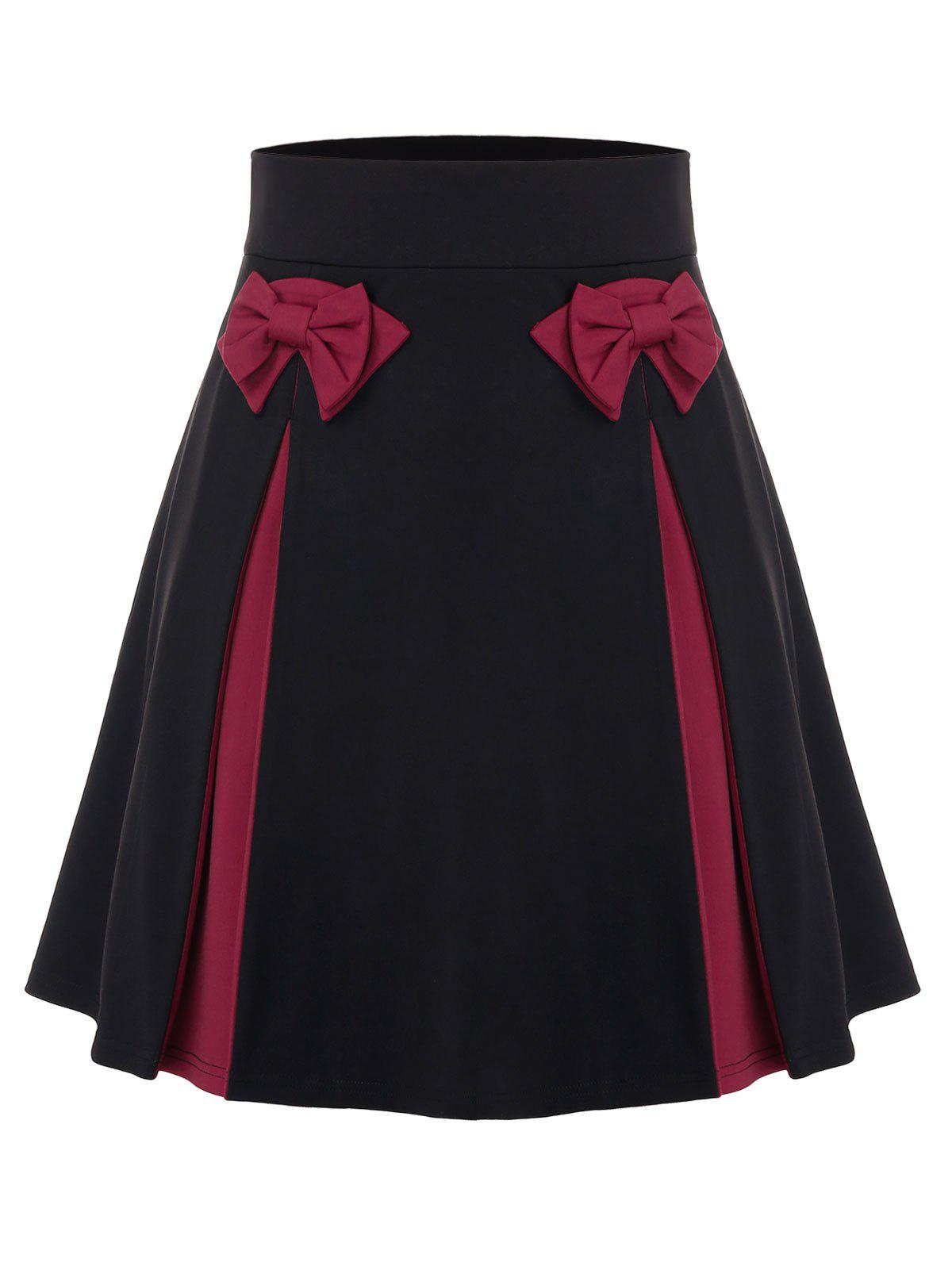 Plus Size Bowknot Two Tone Skirt - BLACK 4X