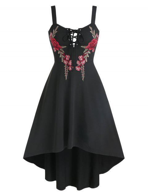 Flower Embroidered Lace-up High Low Flare Dress