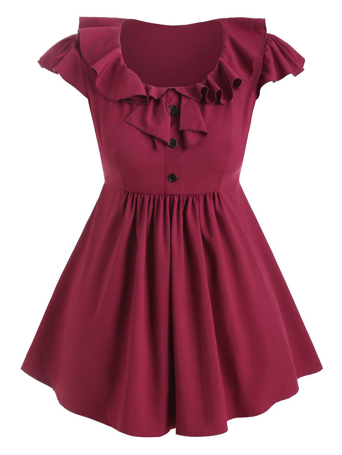Plus Size Ruffled Mock Button Blouse - RED WINE 1X