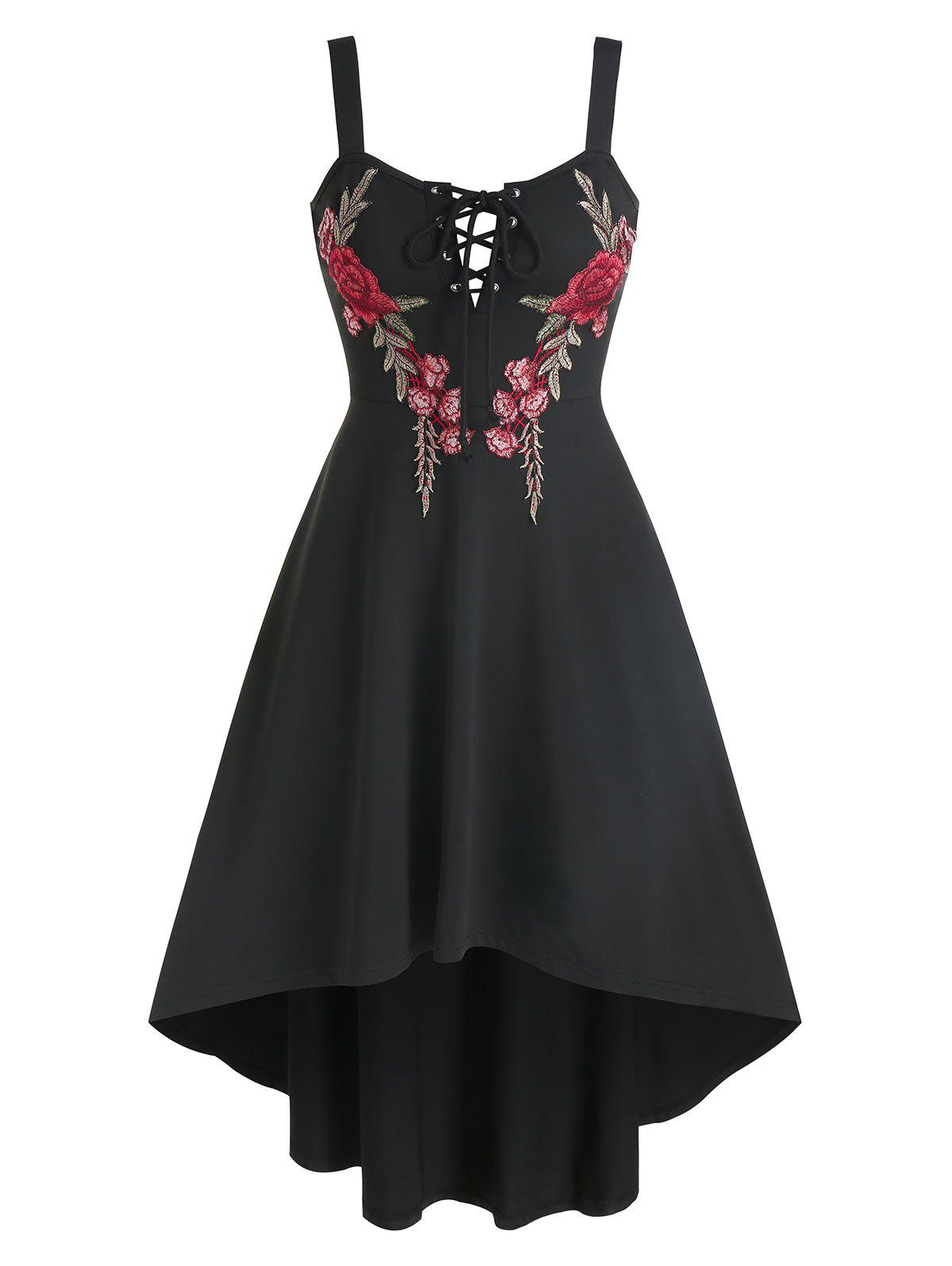 Flower Embroidered Lace-up High Low Flare Dress - BLACK M