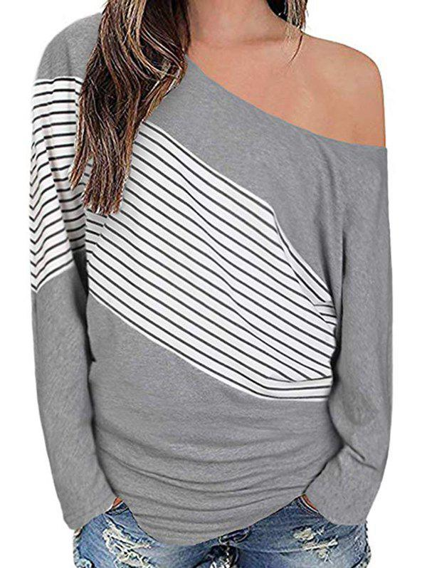 Striped Skew Neck Drop Shoulder T-shirt - GRAY CLOUD L