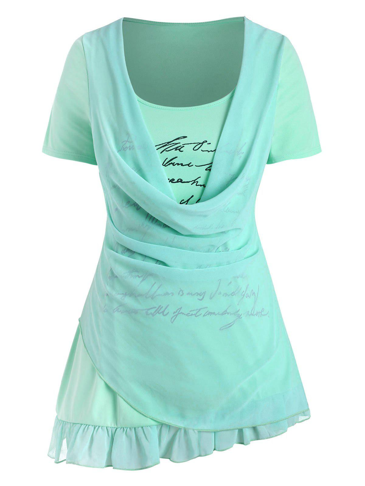Plus Size Cowl Front Overlay Letter Print T Shirt - AQUAMARINE L