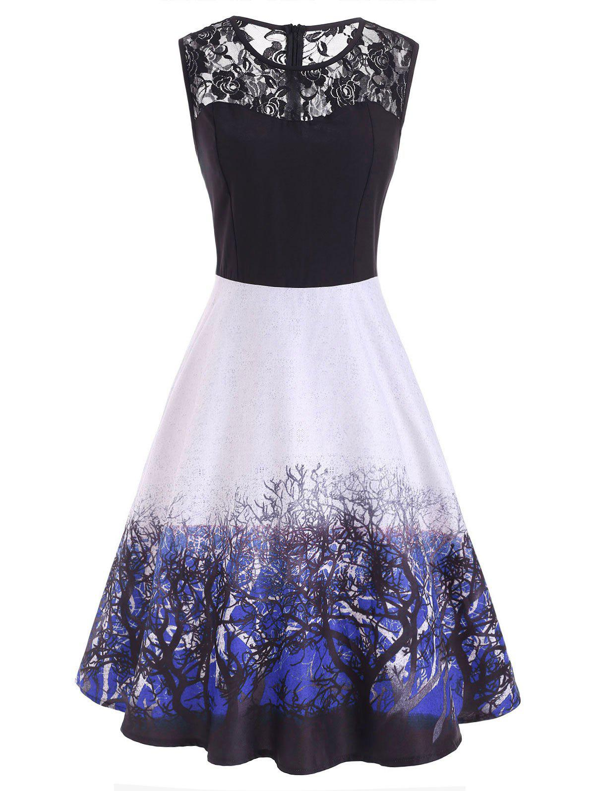 Lace Yoke Branch Print Sleeveless Dress - BLUEBERRY BLUE 2XL