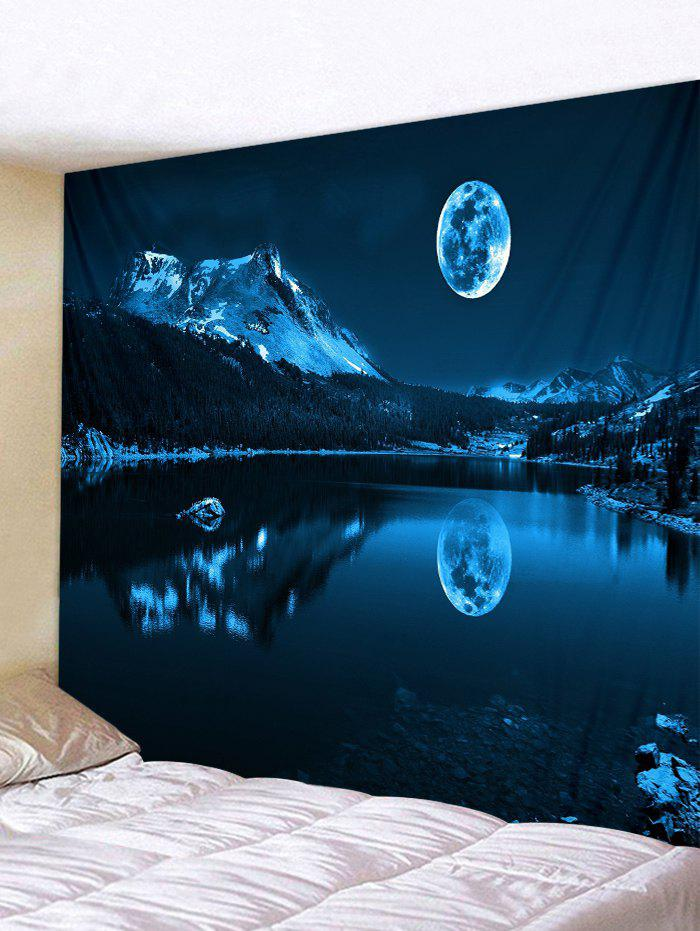 Moon Night Mountain Lake Print Tapestry Wall Hanging Art Decoration - multicolor W79 X L71 INCH