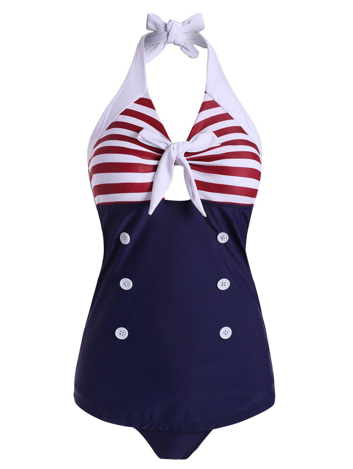 Striped Knotted Mock Button Sailor Tankini Swimsuit - NAVY BLUE 2XL