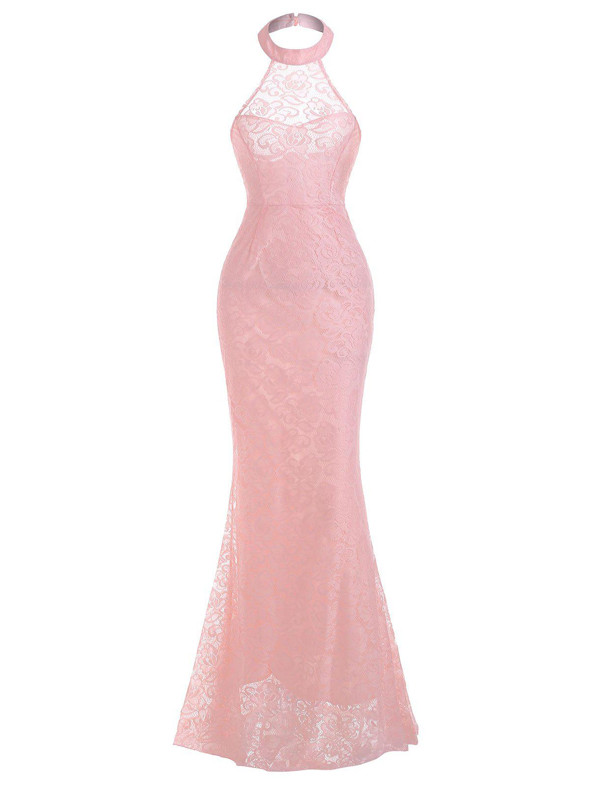 Halter Lace Evening Mermaid Dress - PINK M
