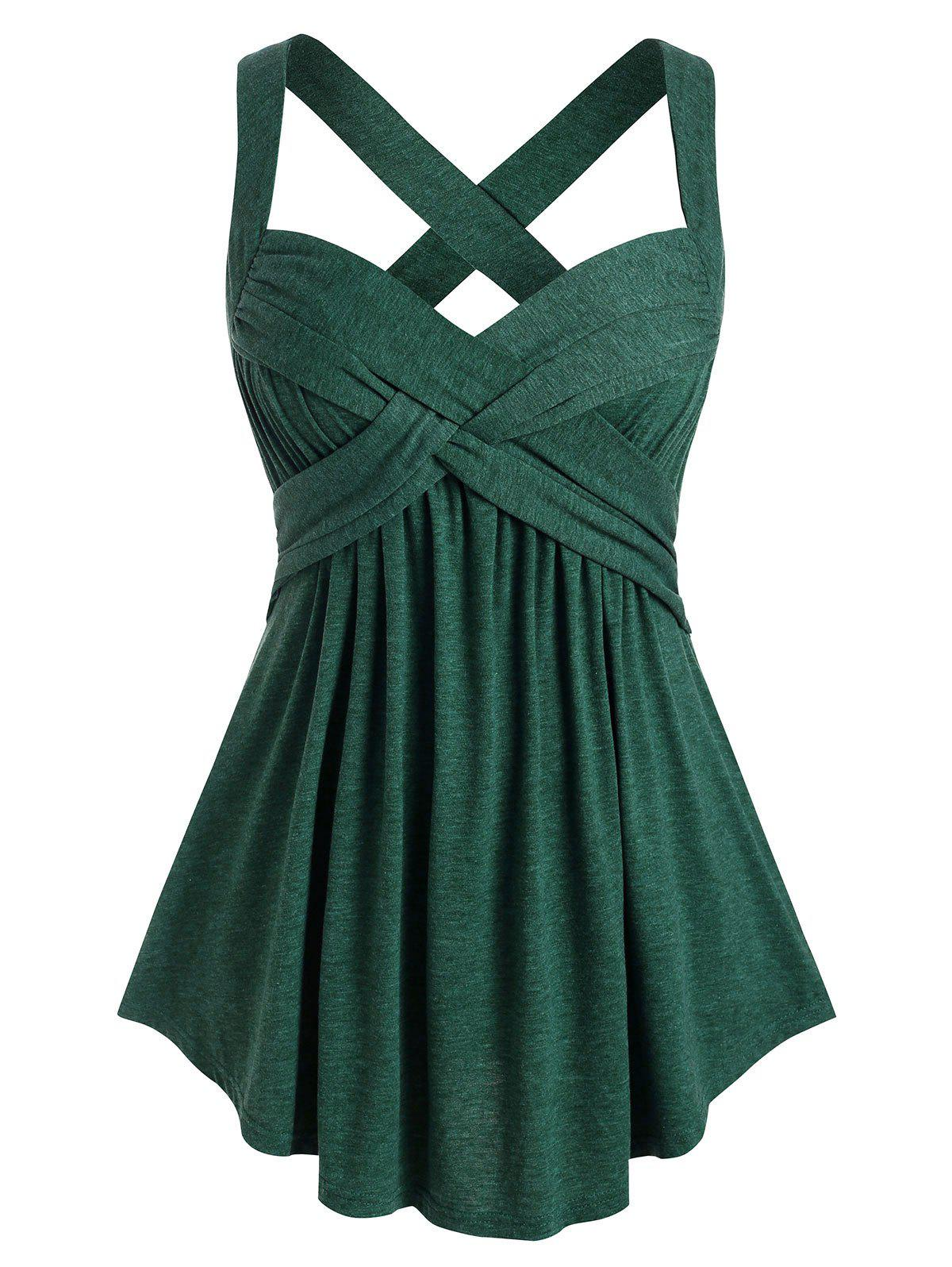 Plus Size Crisscross Tank Top - MEDIUM SEA GREEN 5X