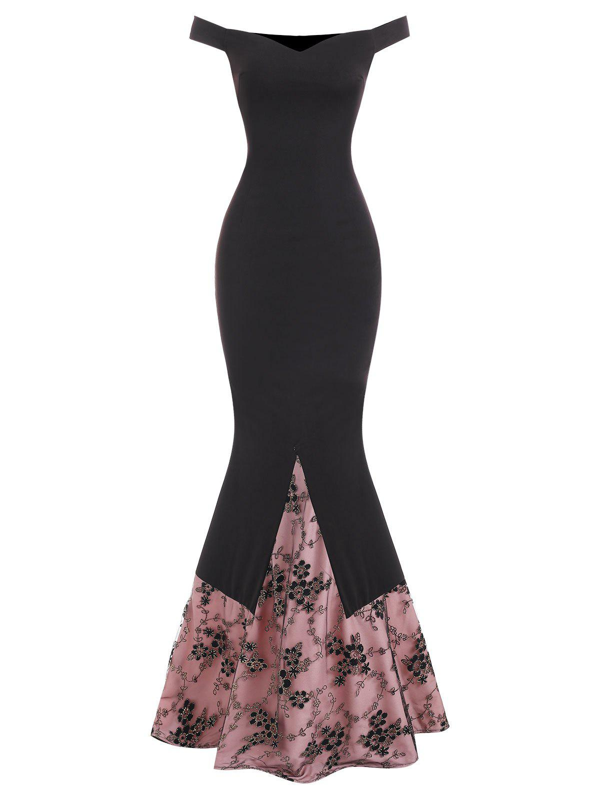Off The Shoulder Floral Mesh Overlay Mermaid Prom Dress - BLACK M