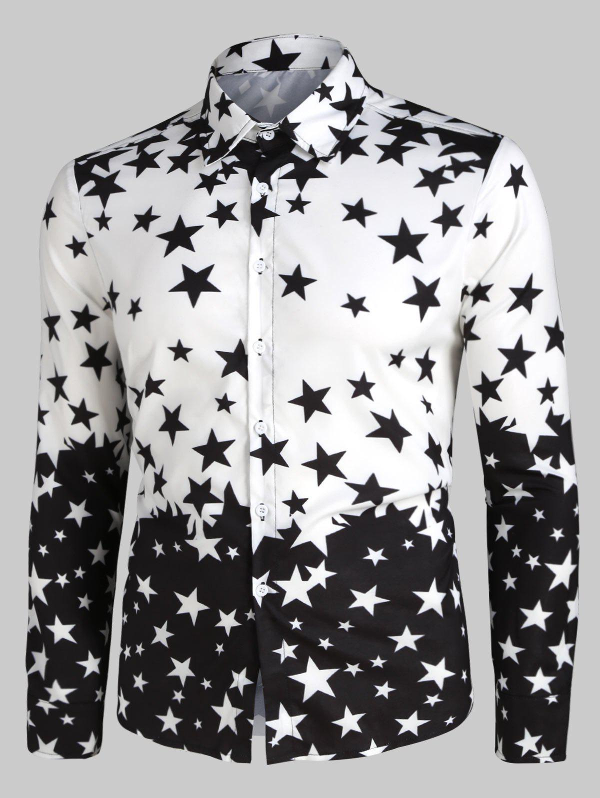 Star Print Long Sleeve Button Up Shirt - BLACK 3XL