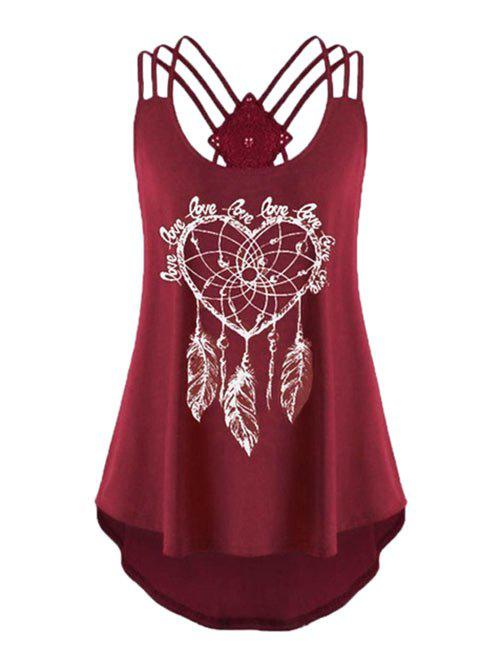 Plus Size Feather Print Strappy High Low Tank Top - RED WINE 1X