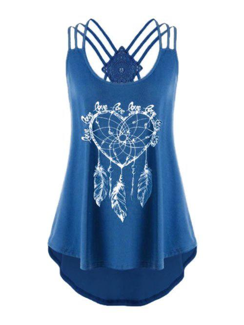 Plus Size Feather Print Strappy High Low Tank Top - BLUEBERRY BLUE 5X
