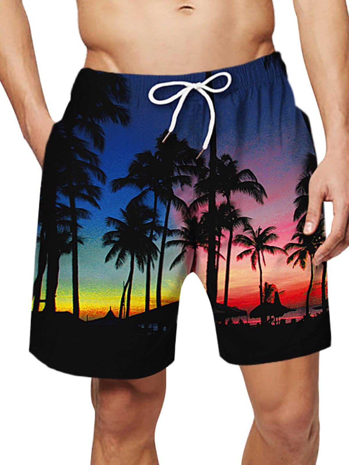 Coconut Tree Pattern Causal Board Shorts - multicolor L